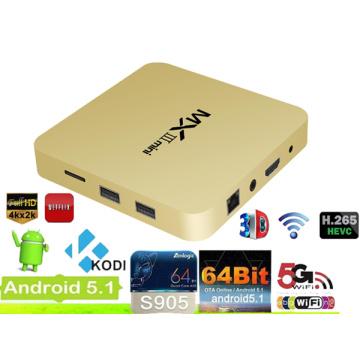 Google Android 5.1 Amlogic S905 Smart TV Box con IPTV, H. 265, 4 k * 2 k Video, HDMI versión 2.0 Octa-Core con Internet Bluetooth Bt4.0 Set Box TV de OPP de la caja superior