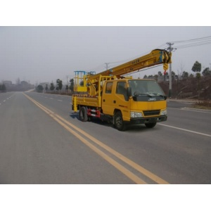 small articulated bucket boom truck with basket