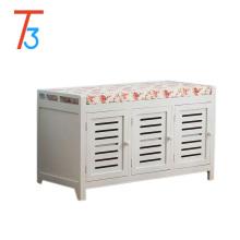Wooden Storage Unit Bench Wicker Rattan Drawers Baskets Cushion Seat