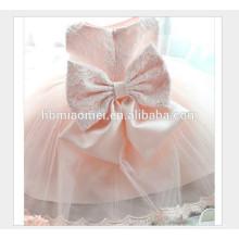 Vente chaude sans manches couleur rose enfants porter robe fille nouvelle mode lacé bébé filles parti porter robe avec grand arc