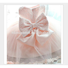 Hot selling sleeveless pink color kids party wear girl dress new fashion laced baby girls party wear dress with big bow