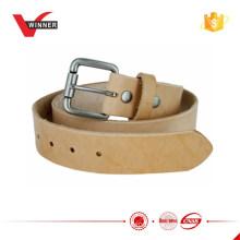 Natural acabamento Full Grain Leather Belt com fivela de rolo 1.5 ''