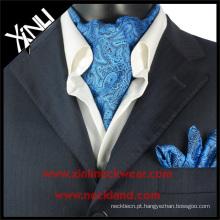 Kravat de seda azul Turquia de Paisley, lenço de seda