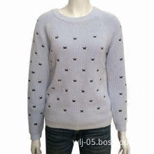 5G ladies' knitted top with overall embroidery, 430gm