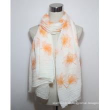 Lady Fashion Blume gedruckt Baumwolle Voile Fringe Schal (YKY1086)