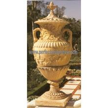 Каменный мраморный цветочный горшок для садовой мебели (QFP185)