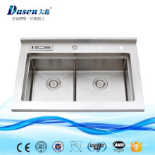 Simple Design Double Steel Solid Surface Treatment Plastic Portable Sinks With Flexible Hose
