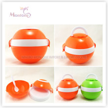 Food Grade Plastic Spherical Surface Lunch Box with Two Handles