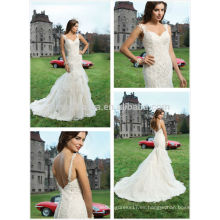 Top Quality 2014 correas de espagueti abierta trasera blusa de encaje Pick-up Tulle falda de sirena vestido de novia de boda vestido de novia NB0659