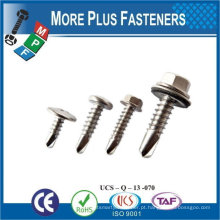 Taiwan # 12-14 x 3/4 Indent Hex Não Deslotado Hex Washer Head Epoxy # 3 410 Stainless Steel Bonding Sealing Washer Self-Drilling Screw