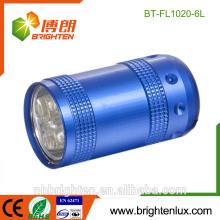 Heißer Verkaufs-nette geformte im Freiengebrauch-Aluminiummaterial-helle 6 geführte Fackel 2 * CR2032 Batterie preiswerte mini geführte Taschenlampe keychain