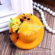 Moda chapéu de penas em forma de novos produtos para cabelos hairclips, hairbands para crianças