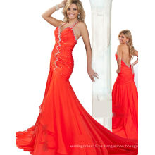 Vestido de fiesta sin mangas del vestido del desfile del halter anaranjado con los Rhinestones TP12-02