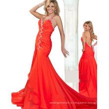 Оранжевый Холтер backless pageant платье вечернее платье со стразами ТР12-02