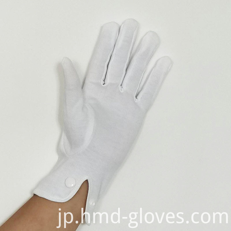 White Cotton Snap Gloves For Police 3