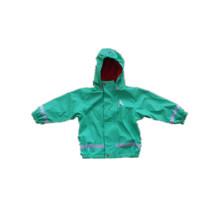 Зеленый PU Светоотражающий дождя куртку для детей/ребенка