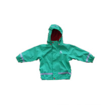 Green PU Reflective Rain Jacket for Children/Baby
