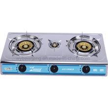 Cocina de gas de tres hornillas del acero inoxidable