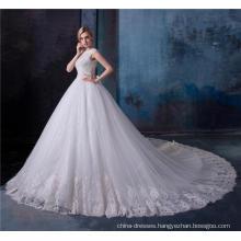 Elegant lace applique crystal beaded women wedding dress bridal gown