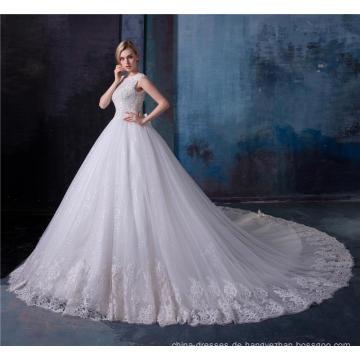 Elegante Spitze Applique Kristall Perlen Frauen Brautkleid Brautkleid