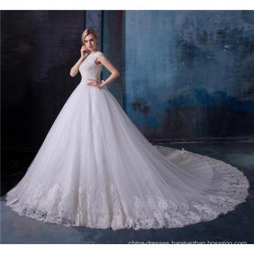 Elegant lace applique crystal beaded women wedding dress bridal gown