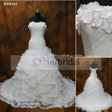 RSW245 Flowers Neckline Lace Up Corset Wedding Dress With Pleated Nets Ruffles Skirt