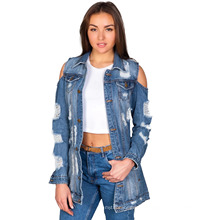New Season Fall Autumn Ladies Denim Jacket Women Coat Casual Ripped Holes Hollow Ladies Fashionable Jeans Jacket