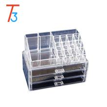 Caja de almacenamiento cosmética de acrílico transparente respetuosa del medio ambiente del organizador del maquillaje con 3 organizadores de acrílico del maquillaje del organizador