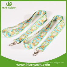 Custom logo printing polyester material lanyards with different hooks