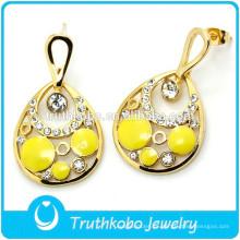 IP Golden Yellow white Pendiente de Gota Brillante CZ Pendiente de Piedra Estilo EE. UU. Pendiente de Boda para Mayorista