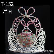 Tiara de concurso de Páscoa coelho strass grande coroa