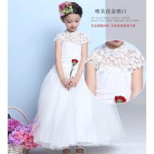 Langes westliches Parteiabnutzungsweißmädchen-Hochzeitskleid neues vorbildliches Mädchen kleiden 2015 für 8 Jahre alt