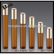 3ml / 5ml / 7ml / 12ml bernsteinfarbene Rolle auf Parfümflasche, Tuben-Parfümflasche mit schwarzem Sprayer, Opium-Parfum