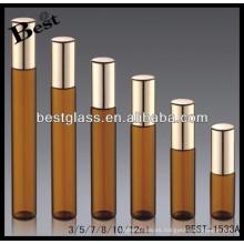 Rollo ambarino 3ml / 5ml / 7ml / 12ml en la botella de perfume, botella de perfume del tubo con el rociador negro, perfume del opio