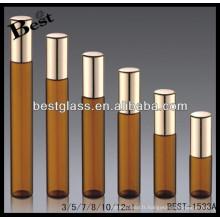 Rouleau d'ambre de 3ml / 5ml / 7ml / 12ml sur la bouteille de parfum, bouteille de parfum de tube avec le pulvérisateur noir, parfum d'opium