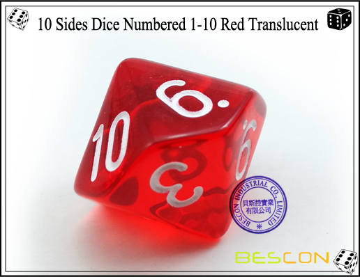 10 Sides Dice Numbered 1-10 Red Translucent-4