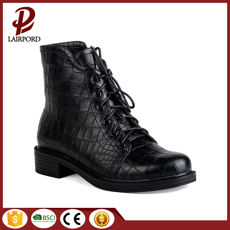 hot sale women flat lacing red boots