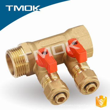Brass forged water manifold for pex-al-pex heating pipe water manifold control water ball trap