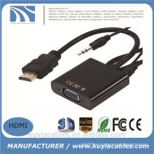 Nuevo varón de HDMI a la hembra del VGA con el adaptador audio 1080P del convertidor del cable video de HD para la PC