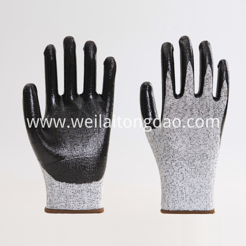 Black Nitrile Working Safety Glove