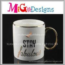Taza de consumición del café Taza de cerámica del precio barato de la manija de oro