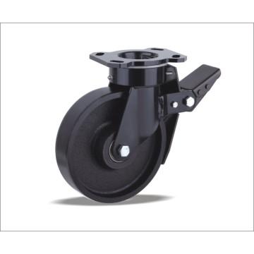 Roulette pivotante avec roue en fonte