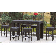 Rattan Bar Long Table with 6 Bar Stools