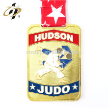 Custom gold enamel metal judo sports medals with lanyard