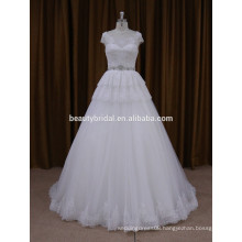 Classic chapel train beaded sach wedding dress