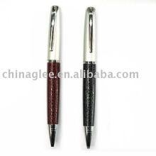 metal ball pen, leather pen