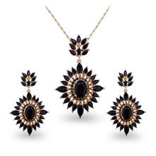 Conjuntos de joyería de cobre del negro de lujo del AAA CZ de la piedra ambiental
