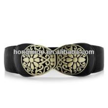Vintage Elegant Metal hollow carving flower belt lady's elastic stretch wide belt trading company