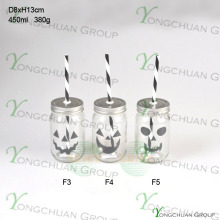 High Quality 16oz Drinking Glass Mason Jar with Halloween Straw and Tin Lid Wholesale