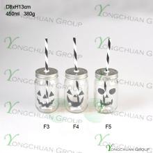Alta qualidade 16oz Drinking vidro Mason Jar com palha Halloween e Tin Lid Atacado